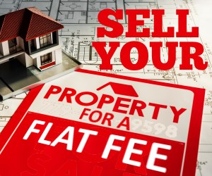 Property for sale sign board that says sell your property for a flat fee